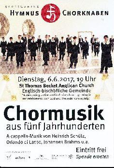 Chormusik aus fünf Jahrhunderten - am Dienstag, 6.6.17 - 19 Uhr